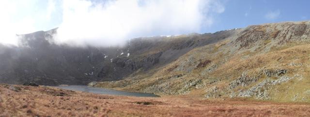 Cwm Lloer below Pen yr Ole Wen and Carnedd Dafydd in the mountains of the Carneddau
