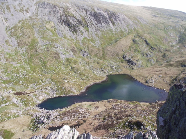 Looking down to the lake of Ffynnon Lloer