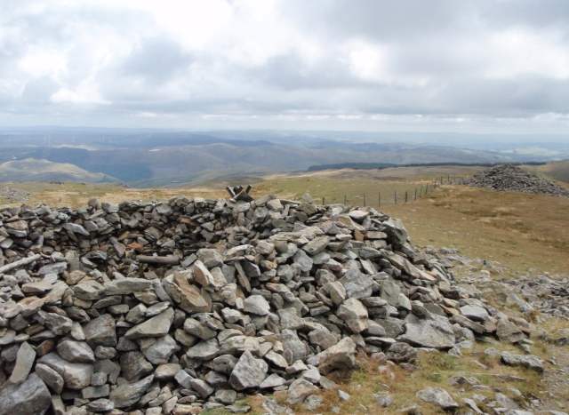 Remains of the Bronze Age cairn at the summit