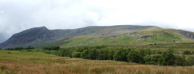 Looking up to the Carneddau Plateau from the Ogwen Valley, Pen yr Ole Wen on the left