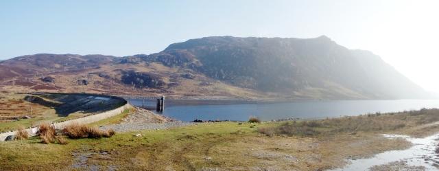 At Llyn Cowlyd dam, looking back to Creigiau Gleision