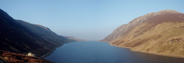 The view back down Llyn Cowlyd, with Creigiau Gleision on the right
