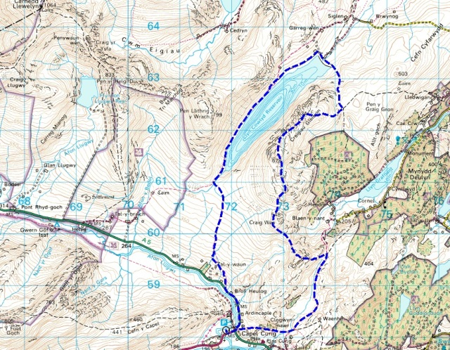 The route – anticlockwise starting from Capel Curig