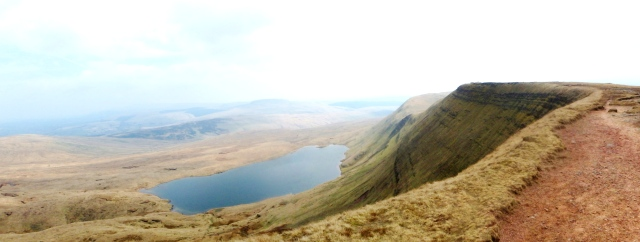 Looking back along the escarpment to Llyn y Fan Fawr