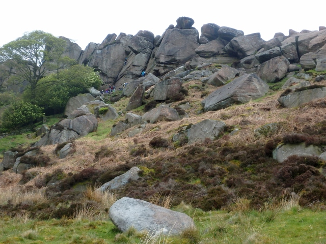 A busy day on the gritstone crags of The Roaches