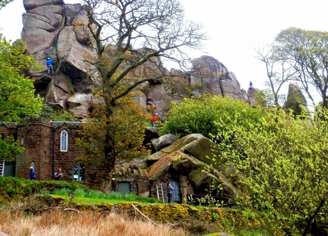 Rock climbing at The Roaches, above the Don Whillans Memorial Hut