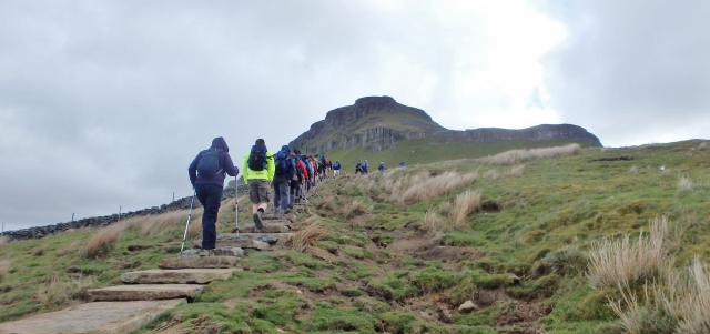 Approaching Pen y Ghent on the Yorkshire Three Peaks Challenge walk