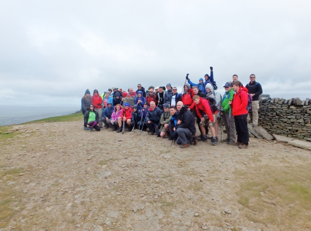 The group at the summit of Pen y Ghent, one down and two to go!