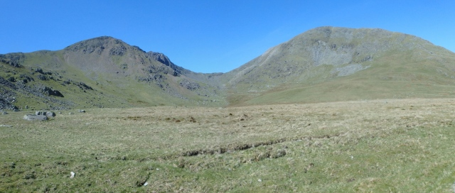 Looking back – Dow Crag on the left and the Old Man on the right