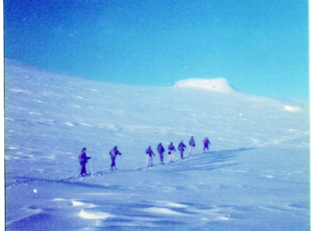 Royal Marines ski patrol at Okstinden, not far from the Swedish Border – 1977