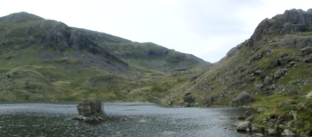 The descent ridge of Prison Band on the skyline (seen from Levers Water)