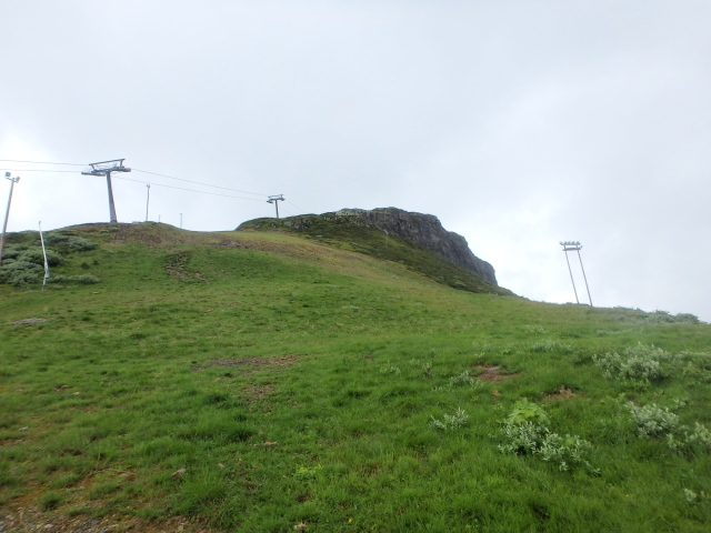 Looking up the ski pistes ….
