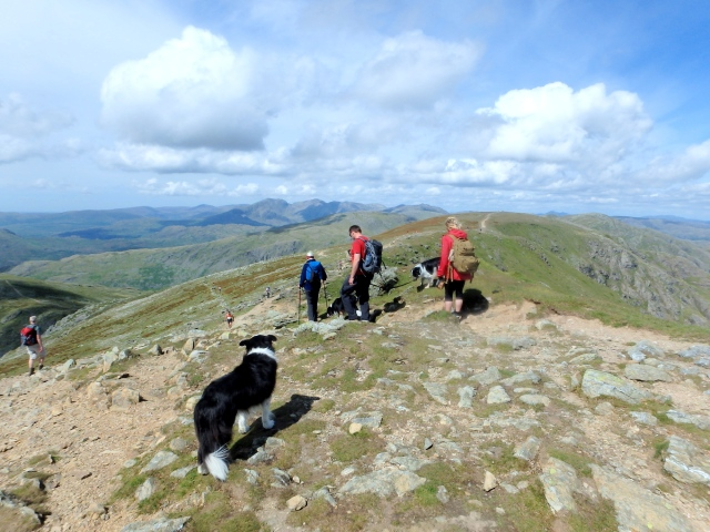 Leaving the summit of Coniston Old Man