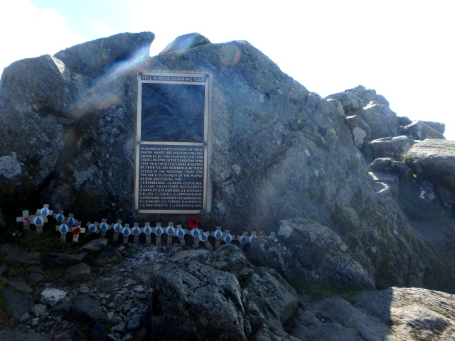 The memorial to members of the Fell and Rock Club killed in WW1