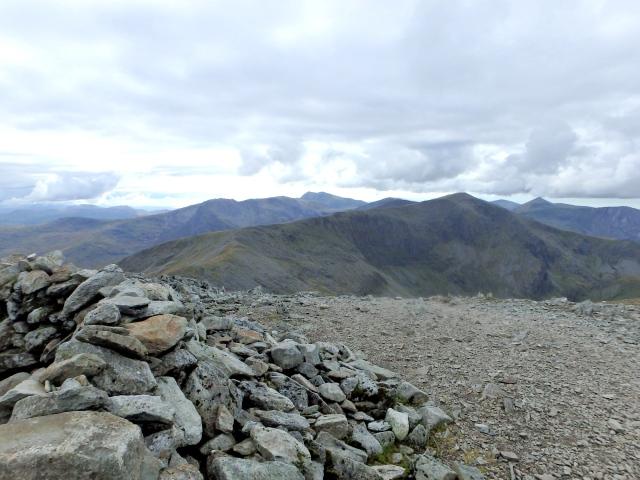 The summit shelter of Carnedd Llewelyn, looking towards Carnedd Dafydd