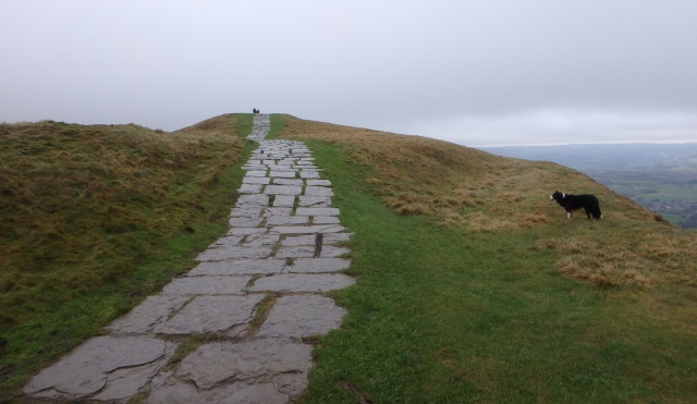 Approaching the summit of Mam Tor ….