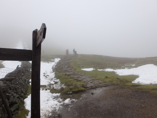 Javed heading down from the summit of Pen y Ghent ….