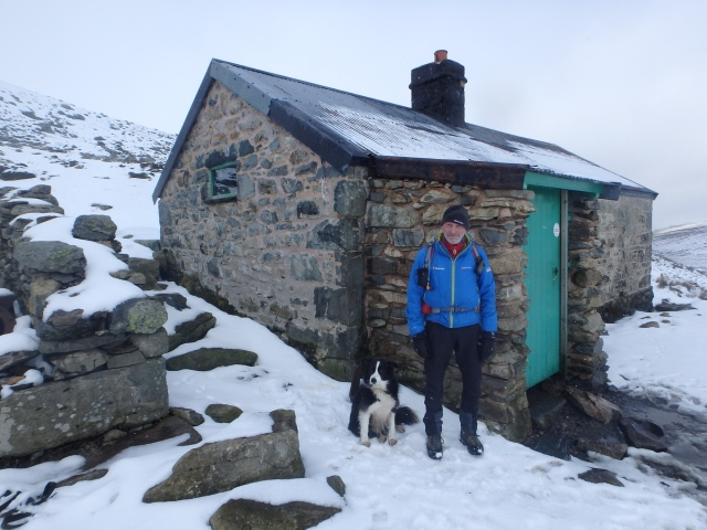 One man and his dog – the author at Dulyn bothy