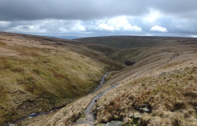 Looking east down Ogden Clough ….