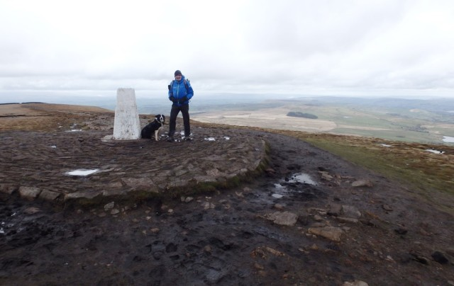 The Author and Border Collie 'Mist' at Big End (the summit)