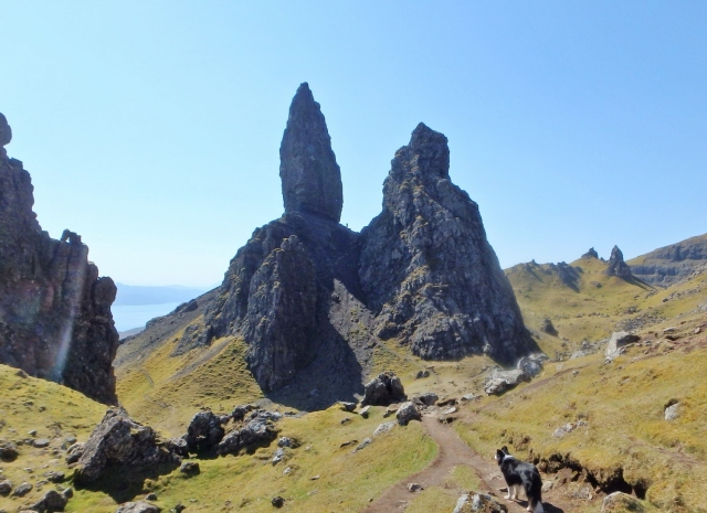 Looking across to the Old Man of Storr – note the tiny figure in the centre