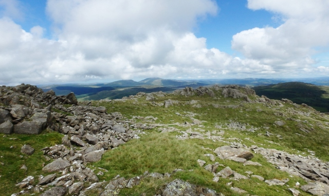 Summit rocks of Rhobell Fawr, surprisingly bumpy for a grassy hill