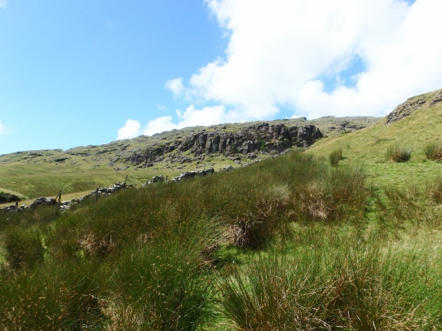 …. and the craggy east side of Rhobell Fawr