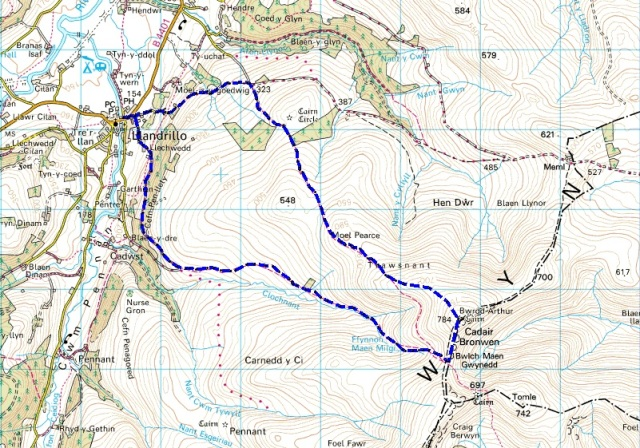 The route – anti-clockwise from Llandrillo