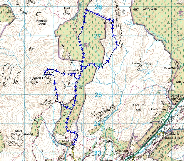 The route – Rhobell Fawr and Dduallt