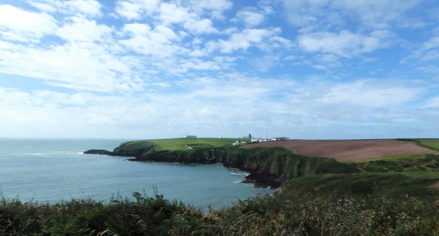 The view south from Mill Bay towards St Ann's Head with the Coastguard Cottages (centre)