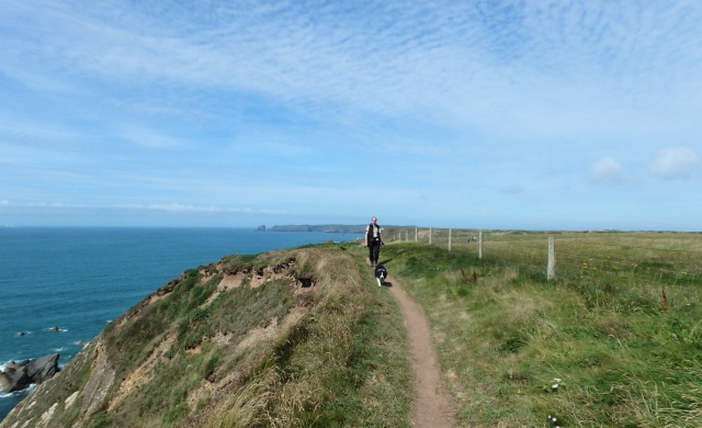 Striding out along the cliff tops