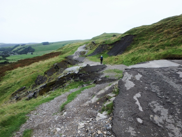 The road is completely swept away in places ….