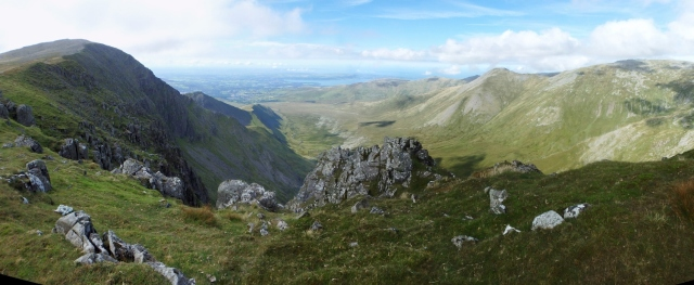 Carnedd Dafydd and the descent route of Mynydd Du (just left of centre, right side in shadow)