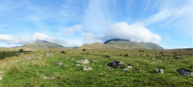 Looking back towards Yr Elen (left) and Carnedd Dafydd