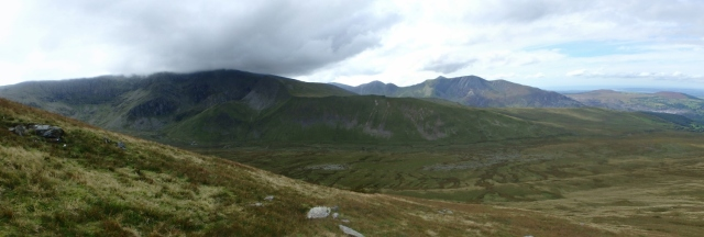 Looking across to Carnedd Dafydd with the hills of the North Glyderau behind