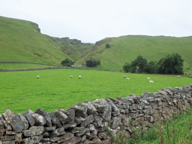 Looking across to Winnats Pass, the route taken by the present road ….