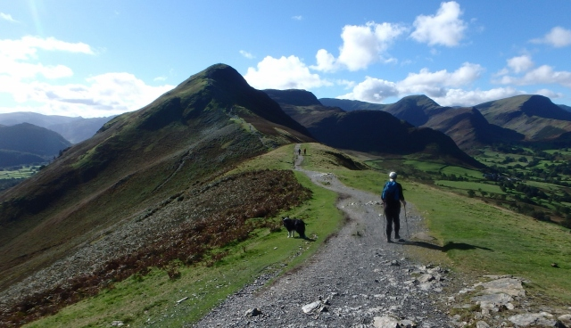 Looking south on the Cat Bells Ridge with the summit looming ahead
