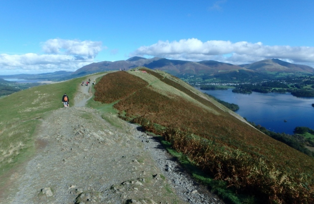 The view north on the Cat Bells Ridge, with Skiddaw (centre) and Blencathra (right) in the distance