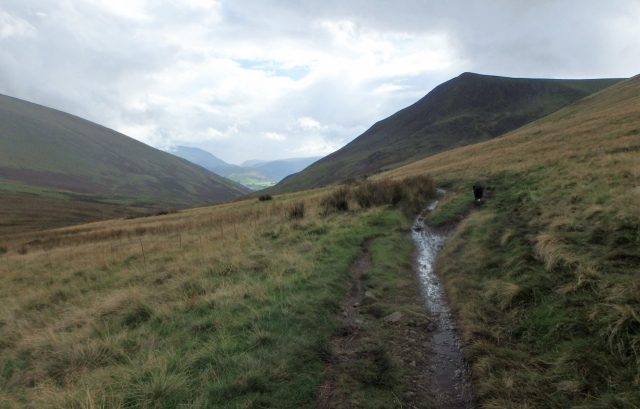 Heading south on the Cumbria Way with Lonscale Fell ahead (right)