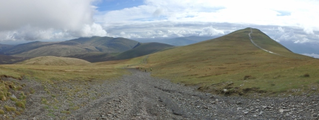 Looking back to Little Man (right) and the north side of Blencathra (centre)