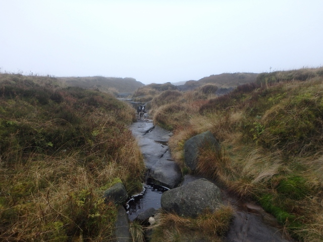 Near Hern Stones, the Pennine Way follows the stream leading to Hern Clough