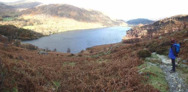 Looking down to Llyn Dinas