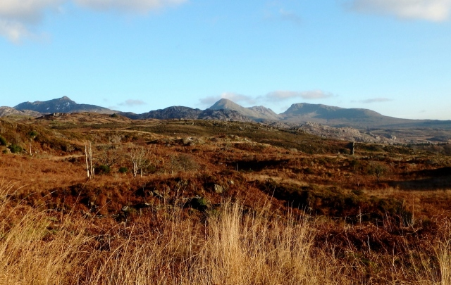 Great views to the Moelwynion (Moelwyns) with (l to r) Cnicht, Moelwyn Mawr and Moelwyn Bach