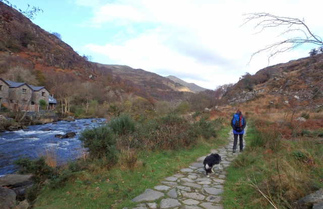 Walking out from Beddgelert with the Afon Glaslyn on the left