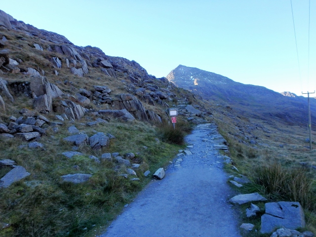 Starting out from Pen y Pass (Note the red warning sign by the path)