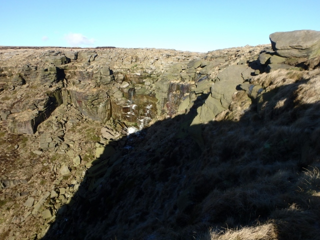 The view back to Kinder Downfall, barely a trickle