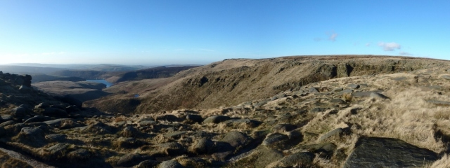 The view down to Kinder Reservoir from Kinder Plateau