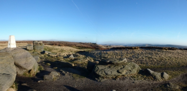 Kinder Scout trig point (633 metres) ….