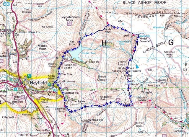 The route, starting from Hayfield