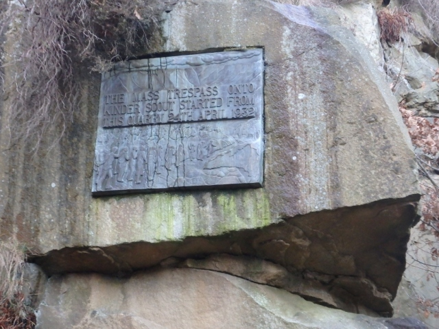 The 'Mass Trespass' commemorative plaque at Hayfield
